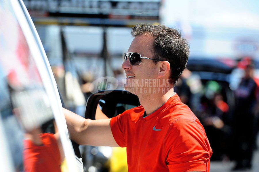 Apr. 13, 2012; Concord, NC, USA: NHRA top fuel dragster driver Steve Torrence during qualifying for the Four Wide Nationals at zMax Dragway. Mandatory Credit: Mark J. Rebilas-