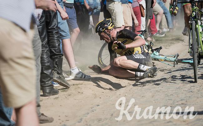Jos Van Emden (NED/Team Lotto NL-Jumbo) crashes at the Carrefour de l'Arbre sector<br /> <br /> 115th Paris-Roubaix 2017 (1.UWT)<br /> One Day Race: Compi&egrave;gne &rsaquo; Roubaix (257km)