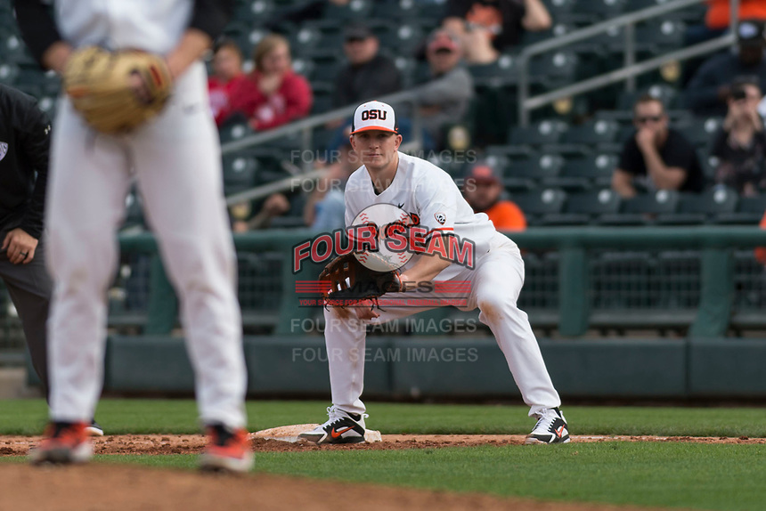Oregon State Beavers first baseman Zak Taylor (16) during a game against the New Mexico Lobos on February 15, 2019 at Surprise Stadium in Surprise, Arizona. Oregon State defeated New Mexico 6-5. (Zachary Lucy/Four Seam Images)