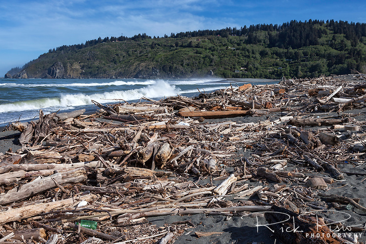 Driftwood and assorted garbage, accumulates on the beach at the mouth of the Klamath River in Northern California