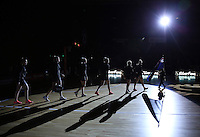 20.10.2016 The Silver Ferns head onto court during the Silver Ferns v Australia netball test match played at ILT Stadium in Invercargill. Mandatory Photo Credit ©Michael Bradley.