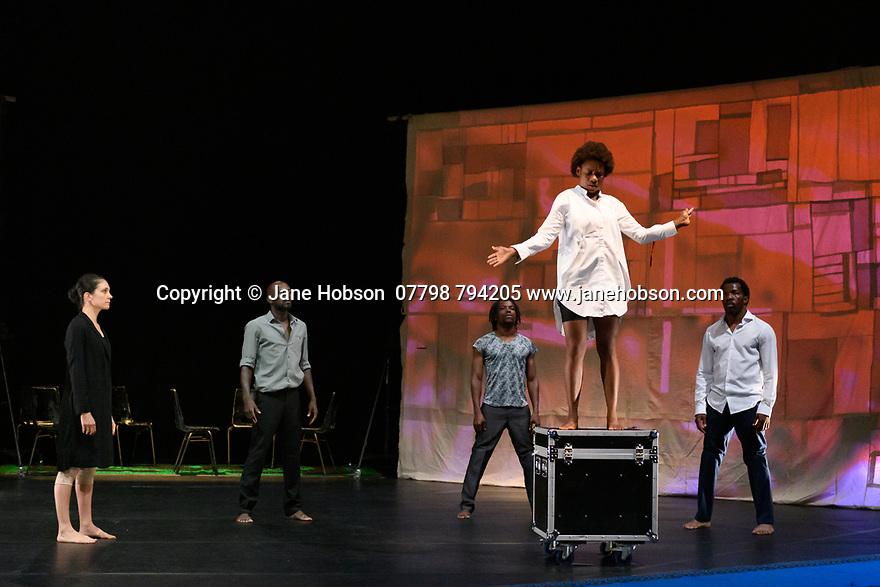 "Faso Danse Theatre/ Serge Aime Coulibaly presents ""Kalakuta Republik"", choreographed by Aerge Aime Coulibaly, at the Royal Lyceum Theatre, as part of the Edinburgh International Festival.  The dancers are: Marion Alzieu, Serge Aime Coulabily, Adonis Nebie, Sayouba Segue, Ahmend Soura, Ida Faho. Picture shows: Marion Alzieu, Ahmend Soura, Adonis Nebie, Ida Faho, Sayouba Segue."