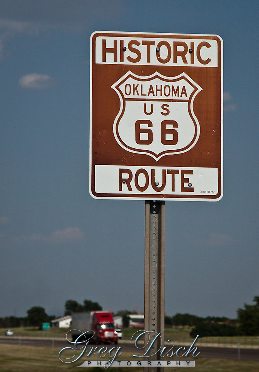 Historic Oklahoma Route 66 Sign.