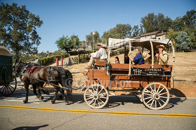 Days of '49 wagon train travel near Jackson Gate, Calif., on their way to downtown Jackson, Amador County, Calif.<br /> <br /> Diamond Jubilee commemoration of the founding of Amador County in 1854