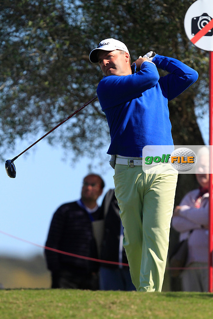 Thomas Levet (FRA) on the 10th tee during Round 2 of the NH Collection Open at the La Reserva de Sotogrande Club de Golf in Cadiz Spain on Friday 4th April 2014<br /> Picture:  Thos Caffrey / www.golffile.ie