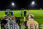 Rose of Tralee Maggie McEldowney Chairman of Kerry County Board Tim Murphy and Marty Morressy in the National League in Austin Stack park on Saturday night.