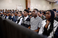 Students from Benjamin Banneker Academic High School listen as United States President Barack Obama speaks during an event to highlight the progress that has been made over the last eight years by the Obama Administration to improve education across the country on October 17, 2016 in Washington, DC.<br /> Credit: Olivier Douliery / Pool via CNP /MediaPunch