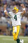 Quarterback Brett Favre #4 of the Green Bay Packers celebrates a key first down during an NFL football game against the Detroit Lions at Ford Field on September 24, 2006 in Detroit, Michigan. The Packers beat the Lions 31-24. (Photo by David Stluka)