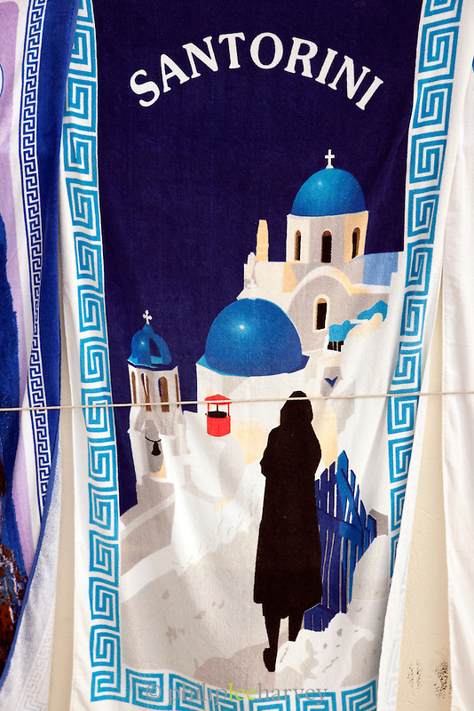 Towel for sale at a tourist shop in Oia, Santorini, Greece