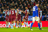 8th January 2020; King Power Stadium, Leicester, Midlands, England; English Football League Cup Football, Carabao Cup, Leicester City versus Aston Villa; Aston Villa players celebrate Frederic Guilbert's goal after 27 minutes for 0-1 - Strictly Editorial Use Only. No use with unauthorized audio, video, data, fixture lists, club/league logos or 'live' services. Online in-match use limited to 120 images, no video emulation. No use in betting, games or single club/league/player publications