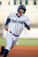 Charlotte Stone Crabs second baseman Tristan Gray (9) running the bases during a game against the Dunedin Blue Jays on June 5, 2018 at Charlotte Sports Park in Port Charlotte, Florida.  Dunedin defeated Charlotte 9-5.  (Mike Janes/Four Seam Images)