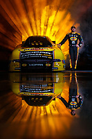 Jan 11, 2018; Brownsburg, IN, USA; NHRA funny car driver Matt Hagan poses for a portrait during a photo shoot at Don Schumacher Racing. Mandatory Credit: Mark J. Rebilas-USA TODAY Sports