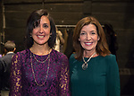 Hempstead, New York, USA. January 1, 2018. L-R, SYLVIA CABANA the Hempstead Town Clerk, and New York State Lt. Governor KATHY HOCHUL pose shortly before the Swearing-In of CABANA as Hempstead Town Clerk, at Hofstra University.