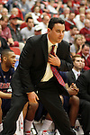 Sean Miller, the head basketball coach at Arizona, shows some serious intensity on the sideline during the Wildcats Pac-10 conference game against Washington State at Friel Court at Beasley Coliseum in Pullman, Washington, on January 22, 2011.  The Wildcats trailed for most of the game but rallied at the end for a 65-63 victory.