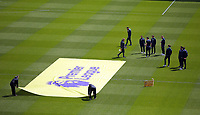 Swansea players inspect the pitch while the Premier League banner is laid on the ground prior to the Premier League match between Sunderland and Swansea City at the Stadium of Light, Sunderland, England, UK. Saturday 13 May 2017