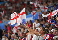 20190702 - LYON , FRANCE : English fans and supporters pictured during the female soccer game between England  - the Lionesses - and The United States of America  – USA - , a knock out game in the semi finals of the FIFA Women's  World Championship in France 2019, Tuesday 2 nd July 2019 at the Stade de Lyon  Stadium in Lyon  , France .  PHOTO SPORTPIX.BE | DAVID CATRY