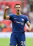 Chelsea's Cesar Azpilicueta celebrates at the final whistle during the premier league match at the Wembley Stadium, London. Picture date 20th August 2017. Picture credit should read: David Klein/Sportimage