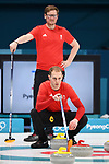 Kyle Smith (GBR) and Viktor Kjell (GBR coach, standing). Mens Curling training. Pyeongchang2018 winter Olympics Gangneung curling centre. Gangneung. Republic of Korea. 12/02/2018. ~ MANDATORY CREDIT Garry Bowden/SIPPA - NO UNAUTHORISED USE - +44 7837 394578