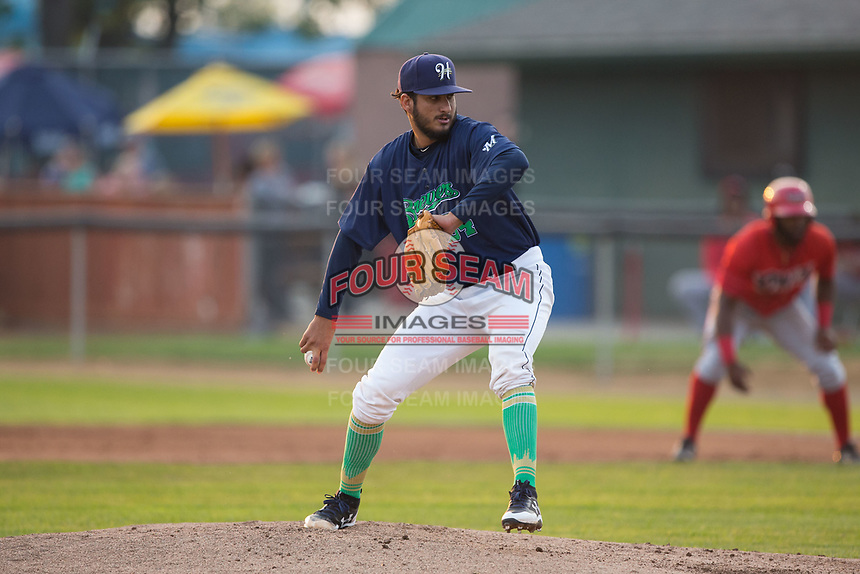 Helena Brewers starting pitcher Nelson Hernandez (34) in action against the Orem Owlz at Kindrick Legion Field on August 17, 2017 in Helena, Montana.  The Owlz defeated the Brewers 5-2.  (Brian Westerholt/Four Seam Images)