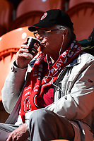 A Fleetwood Town fan looks on<br /> <br /> Photographer Richard Martin-Roberts/CameraSport<br /> <br /> The EFL Sky Bet League One - Blackpool v Fleetwood Town - Saturday 14th April 2018 - Bloomfield Road - Blackpool<br /> <br /> World Copyright &not;&copy; 2018 CameraSport. All rights reserved. 43 Linden Ave. Countesthorpe. Leicester. England. LE8 5PG - Tel: +44 (0) 116 277 4147 - admin@camerasport.com - www.camerasport.com