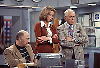 Mary Tyler Moore, Gavin MacLeod and Ted Knight rehease scene from the Mary Tyler Moore Show, Season 4, 1974, Sound Stage 2, CBS Studios, Los Angeles. Photo by John G. Zimmerman.