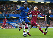 30th September 2017, Stamford Bridge, London, England; EPL Premier League football, Chelsea versus Manchester City; Ngolo Kante of Chelsea in action with David Silva of Manchester City marking