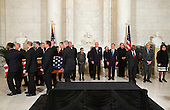 The casket of late United States Supreme Court Justice Antonin Scalia is carried into the Great Hall of the Supreme Court for a private ceremony in Washington, DC on Friday, February 19, 2016, past Supreme Court Justices from back left Counselor to the Chief Justice Jeffrey Minear, and Supreme Court Justices Elena Kagan, Samuel Anthony Alito, Jr., Ruth Bader Ginsburg, Anthony M. Kennedy, Chief Justice John G. Roberts, Jr., Clarence Thomas, Stephen G. Breyer, and Sonia Sotomayor. <br /> Credit: Jacquelyn Martin / Pool via CNP