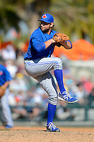 Toronto Blue Jays pitcher Evan Crawford #46 during a Spring Training game against the Baltimore Orioles at Ed Smith Stadium on March 7, 2013 in Sarasota, Florida.  Balitmore defeated Toronto 11-10.  (Mike Janes/Four Seam Images)