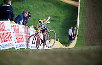 Nikki Harris (GBR/Telenet-Fidea) stopped in her tracks by a mechanical<br /> <br /> GP Mario De Clercq<br /> Hotondcross 2014