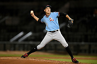 Pitcher Tai Tiedmann (23) of the Hickory Crawdads delivers a pitch in a game against the Columbia Fireflies on Tuesday, August 27, 2019, at Segra Park in Columbia, South Carolina. Columbia won, 3-2. (Tom Priddy/Four Seam Images)