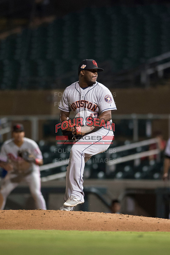 Scottsdale Scorpions relief pitcher Erasmo Pinales (47), of the Houston Astros organization, delivers a pitch during an Arizona Fall League game against the Salt River Rafters at Salt River Fields at Talking Stick on October 11, 2018 in Scottsdale, Arizona. Salt River defeated Scottsdale 7-6. (Zachary Lucy/Four Seam Images)