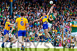 David Moran Kerry in action against Cathal O'Connor Clare during the Munster GAA Football Senior Championship semi-final match between Kerry and Clare at Fitzgerald Stadium in Killarney on Sunday.