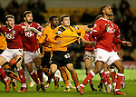 Polish international Michal Zyro of Wolverhampton Wanderers has his shirt pulled in the penalty area - Football - Wolverhampton Wanderers vs Bristol City - Molineux Wolverhampton - Sky Bet Championship - 8th March 2016 - Season 2015/2016 - Picture Malcolm Couzens/Sportimage