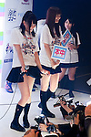 Visitors take pictures of adult film actresses during the Japan Adult Expo 2015 on November 17, 2015, Tokyo, Japan. 69 film production companies, novelty goods makers and over a hundred AV actresses will attend the second annual two day expo in Toyosu Pit from November 17 to 18. Organizers aim to give fans the opportunity to meet their idols. (Photo by Rodrigo Reyes Marin/AFLO)