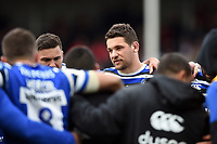 Charlie Ewels of Bath Rugby speaks to his team-mates in a post-match huddle. Gallagher Premiership match, between Gloucester Rugby and Bath Rugby on April 13, 2019 at Kingsholm Stadium in Gloucester, England. Photo by: Patrick Khachfe / Onside Images