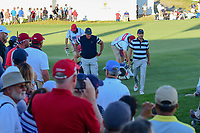 Phil Mickelson (USA) and Kevin Kisner (USA) make their way to 17th tee during round 1 foursomes of the 2017 President's Cup, Liberty National Golf Club, Jersey City, New Jersey, USA. 9/28/2017.<br /> Picture: Golffile | Ken Murray<br /> ll photo usage must carry mandatory copyright credit (&copy; Golffile | Ken Murray)