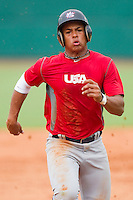 Chris McFarland #16 of Team Red hustles towards third base against Team Blue during the USA Baseball 18U National Team Trials at the USA Baseball National Training Center on June 30, 2010, in Cary, North Carolina.  Photo by Brian Westerholt / Four Seam Images