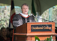 PIMCO Group Chief Investment Officer Daniel Ivascyn '91 speaks after receiving an honorary degree at Occidental College's 133rd Commencement at the Remsen Bird Hillside Theater, on Sunday, May 17, 2015.<br /> (Photo by Marc Campos, Occidental College Photographer)