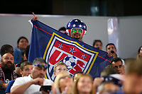 ARLINGTON, TEXAS - Saturday July 22, 2017: USA fans show their spirit during the USMNT vs Costa Rican National Team in the first half of the match at AT&T Stadium.