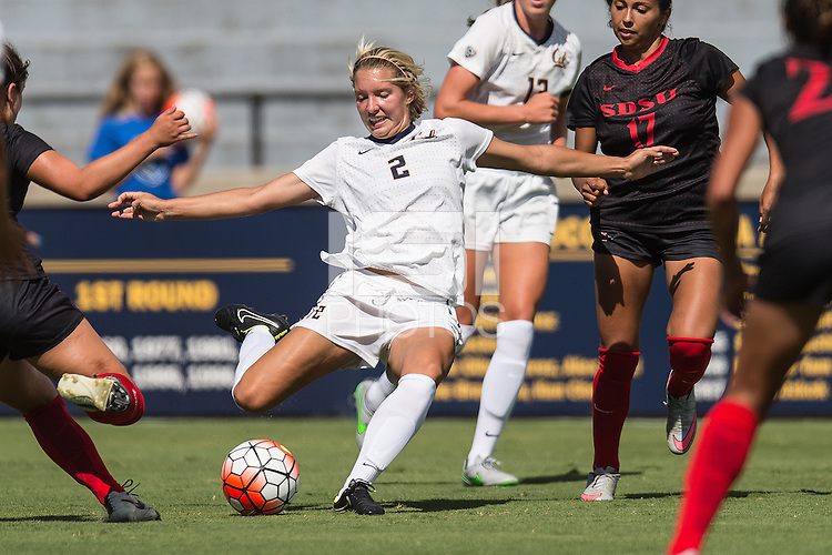 BERKELEY, CA - August 29, 2015: The Cal Bears Women's Soccer team vs the San Diego State Aztecs at Edwards Stadium in Berkeley, California. Final score, Cal Bears 2, San Diego State 0.