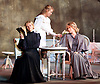 Three Sisters <br /> by Anton Chekhov<br /> Sovremennik Theatre <br /> at Piccadilly Theatre, London, Great Britain <br /> Press photocall / rehearsal <br /> 11th May 2017 <br /> <br /> Olga Drozdova as Olga <br /> <br /> Alyona Babenko as Masha <br /> <br /> Victoria Romanenko as Irina <br /> <br /> Anatoly Uzdensky as Ivan Romanovich Chebutykin <br /> <br /> Shamil Khamatov and Ilya Drevnov as Soldiers <br /> <br /> <br /> Photograph by Elliott Franks <br /> Image licensed to Elliott Franks Photography Services