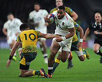 Joe Cokanasiga of England bursts through Matt Toomua of Australia during the Quilter International match between England and Australia at Twickenham Stadium on Saturday 24th November 2018 (Photo by Rob Munro/Stewart Communications)