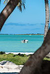 A small dinghy in the lagoon in Kiritimati, Kiribati