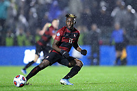CARY, NC - DECEMBER 13: Ousseni Bouda #11 of Stanford University passes the ball during a game between Stanford and Georgetown at Sahlen's Stadium at WakeMed Soccer Park on December 13, 2019 in Cary, North Carolina.