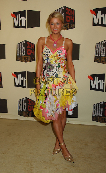 PARIS HILTON.VH1 Big in '04 held at the Shrine Auditorium. .December 1st, 2004.full length, fashion disaster, multi-coloured layered dress.www.capitalpictures.com.sales@capitalpictures.com.© Capital Pictures.