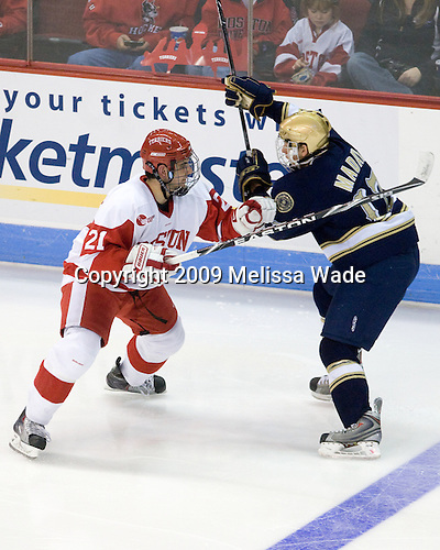 Sean Escobedo (BU - 21), Billy Maday (Notre Dame - 17) - The University of Notre Dame Fighting Irish defeated the Boston University Terriers 3-0 on Tuesday, October 20, 2009, at Agganis Arena in Boston, Massachusetts.