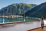 USA, Alaska, Juneau, views from on board the Holland America Cruise Ship, the Oosterdam, as it arrives into port in Juneau