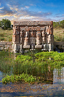 Eflatun Pınar ( Eflatunpınar) Ancient Hittite relief sculpture monument and sacred pool, and its Hittite relief scultures of Hittite gods.  Between 15th to 13th centuries BC. Lake Beysehir National Park, Konya, Turkey.
