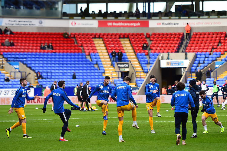 Preston North End players warm up <br /> <br /> Photographer Richard Martin-Roberts/CameraSport<br /> <br /> The EFL Sky Bet Championship - Bolton Wanderers v Preston North End - Saturday 9th February 2019 - University of Bolton Stadium - Bolton<br /> <br /> World Copyright © 2019 CameraSport. All rights reserved. 43 Linden Ave. Countesthorpe. Leicester. England. LE8 5PG - Tel: +44 (0) 116 277 4147 - admin@camerasport.com - www.camerasport.com