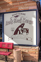 Sign for Rod's Steak House on Route 66 in Williams Arizona which was  established August 23, 1946, during the heyday of Historic Route 66.